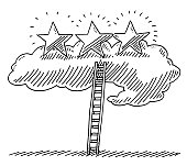 Ladder Of Success Cloud Three Stars Drawing