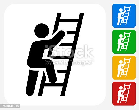Ladder Of Success Icon. This 100% royalty free vector illustration features the main icon pictured in black inside a white square. The alternative color options in blue, green, yellow and red are on the right of the icon and are arranged in a vertical column.