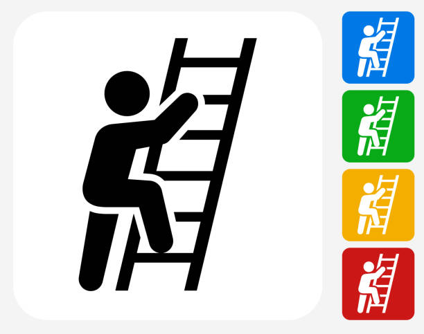 stockillustraties, clipart, cartoons en iconen met ladder of success icon flat graphic design - ladder