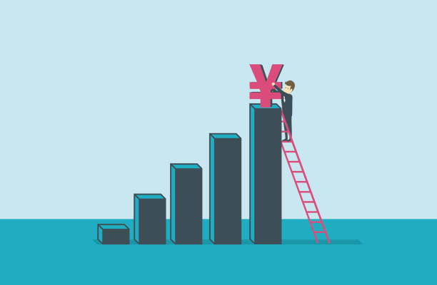 ladder of success illustration and painting yuan symbol stock illustrations