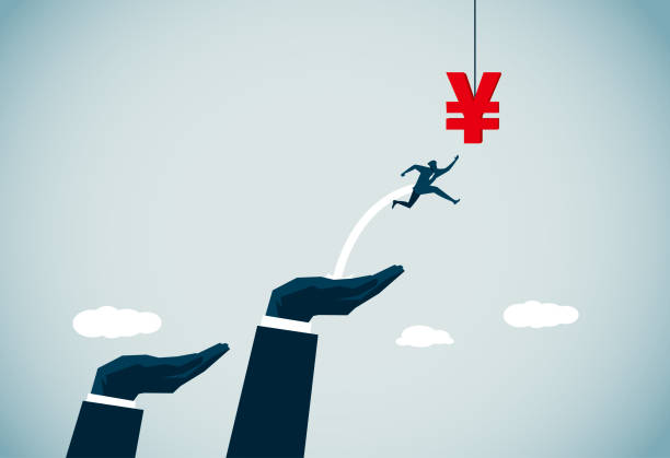 ladder of success commercial illustrator chinese yuan note stock illustrations