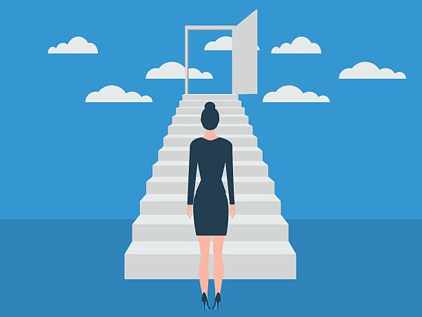 ilustraciones, imágenes clip art, dibujos animados e iconos de stock de la escalera del éxito - regreso a clases