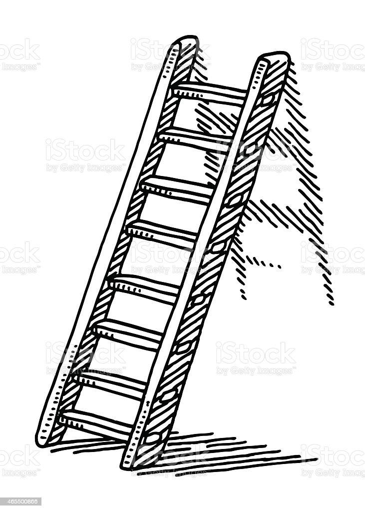 Leiter auf einer Wand zeichnen – Vektorgrafik
