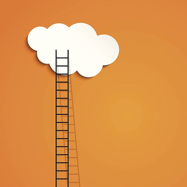 stockillustraties, clipart, cartoons en iconen met ladder to cloud - business success concept - ladder