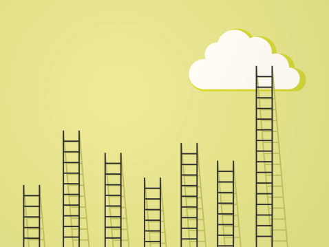 ladder to clouds success and power concept