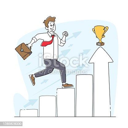 Escalera al éxito. Personaje masculino corriendo en el gráfico de columnas a trofeo en la parte superior. Autodesabierto, desarrollo de problemas mentales