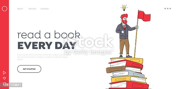 istock Ladder to Success. Training, Education Landing Page Template. Male Character Stand on Top of Huge Books Pile with Flag 1287120641