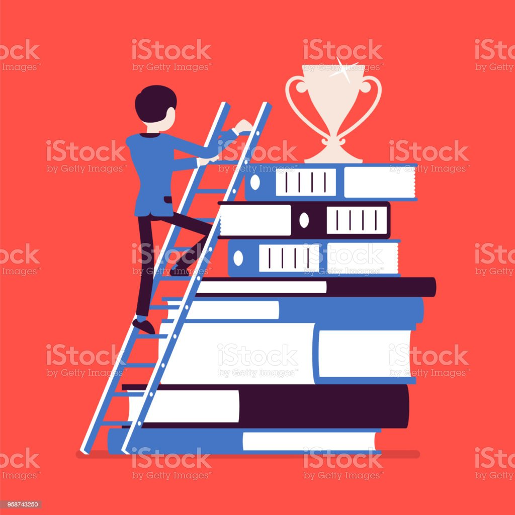 Ladder to success vector art illustration
