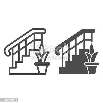 istock Ladder with railings and plant line and solid icon, interior design concept, stair and flower sign on white background, staircase icon in outline style for mobile concept. Vector graphics. 1282416978