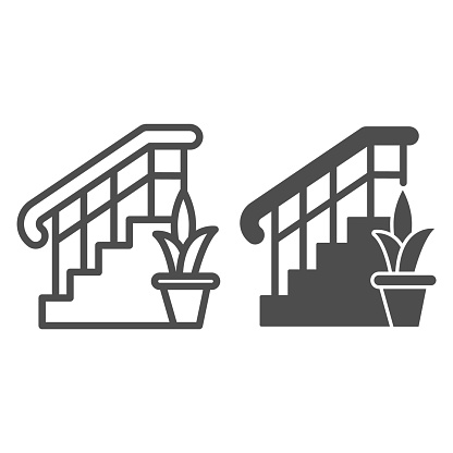 Ladder with railings and plant line and solid icon, interior design concept, stair and flower sign on white background, staircase icon in outline style for mobile concept. Vector graphics.