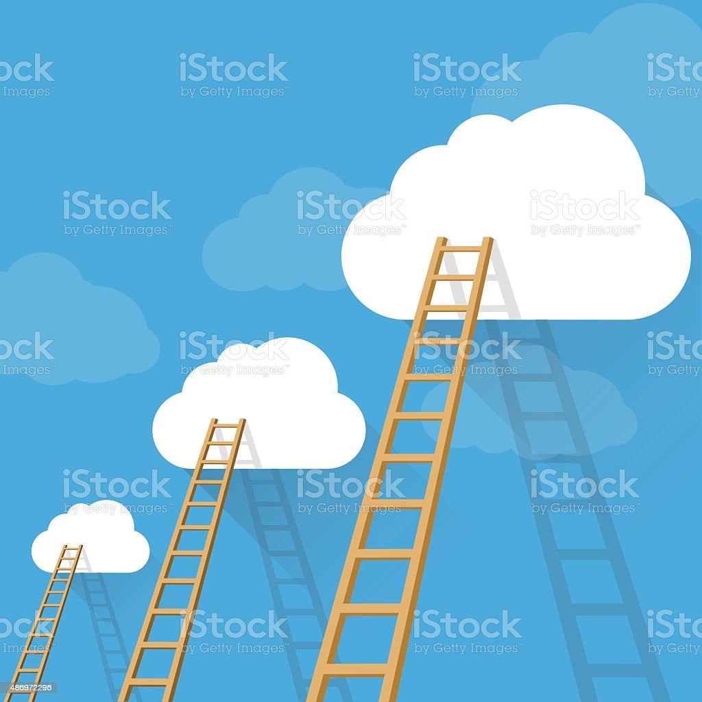 Ladders to success vector concept vector art illustration