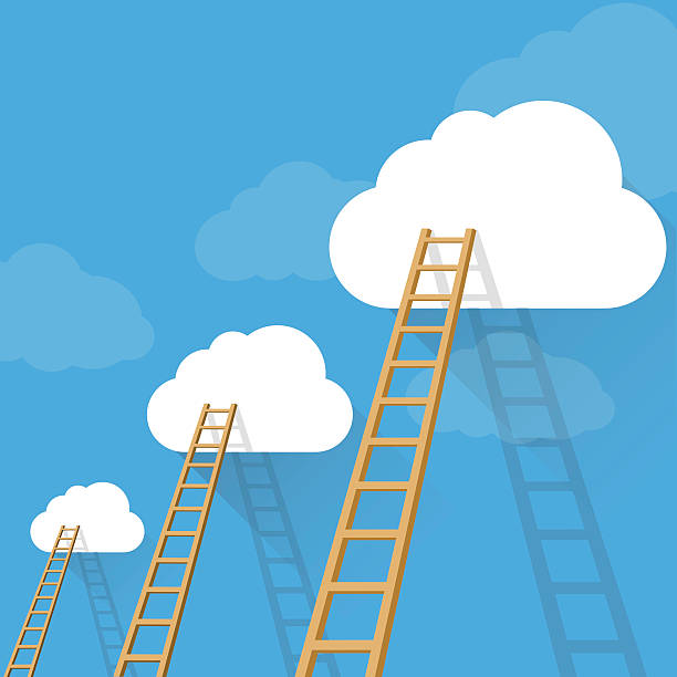 stockillustraties, clipart, cartoons en iconen met ladders to success vector concept - ladder