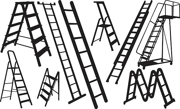 stockillustraties, clipart, cartoons en iconen met ladders - ladder