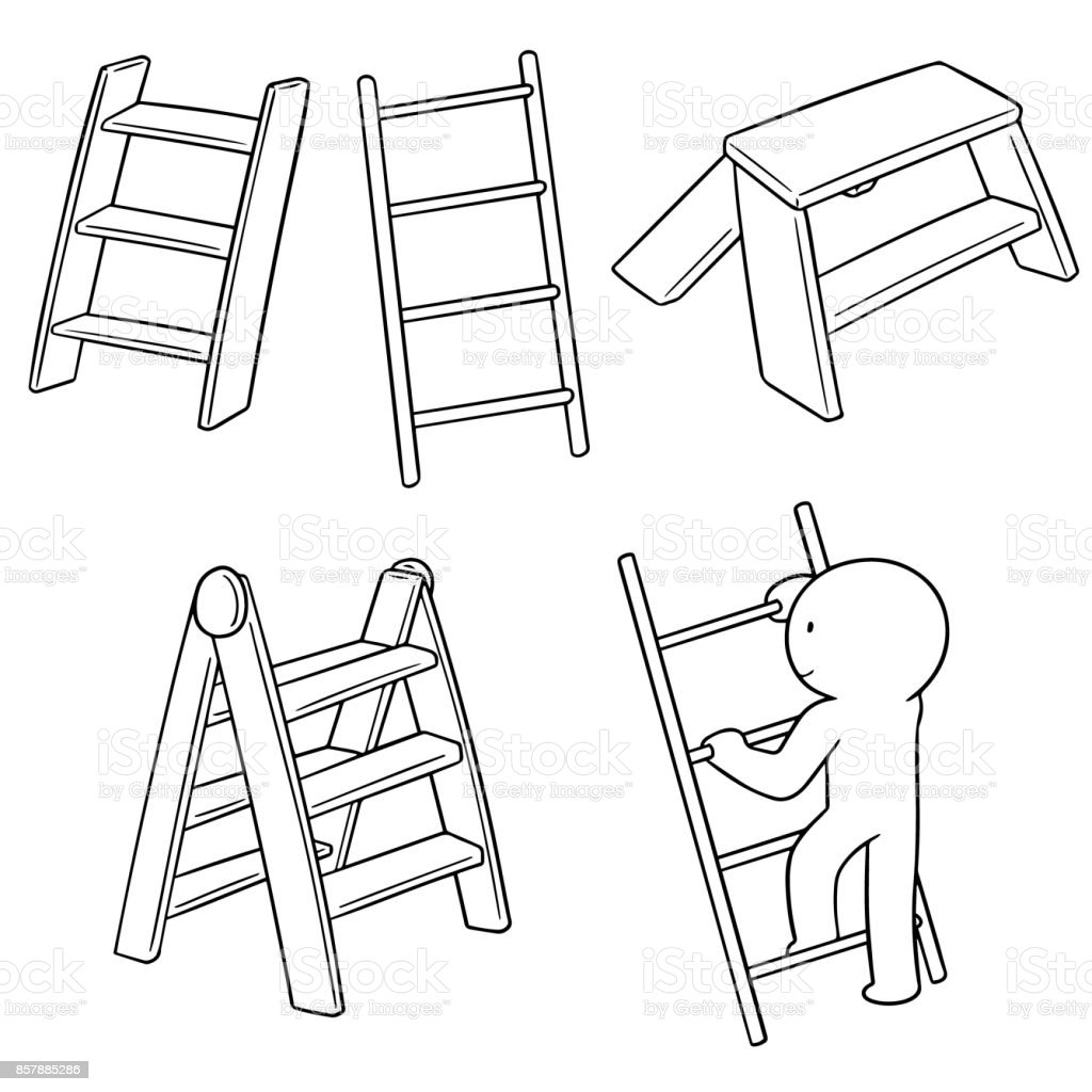 ladders vector art illustration