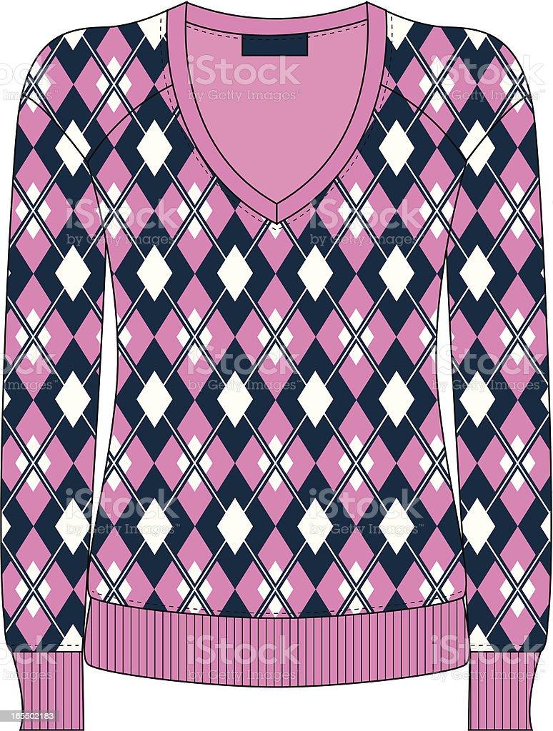 Ladies Argyle Fashion Sweater royalty-free stock vector art