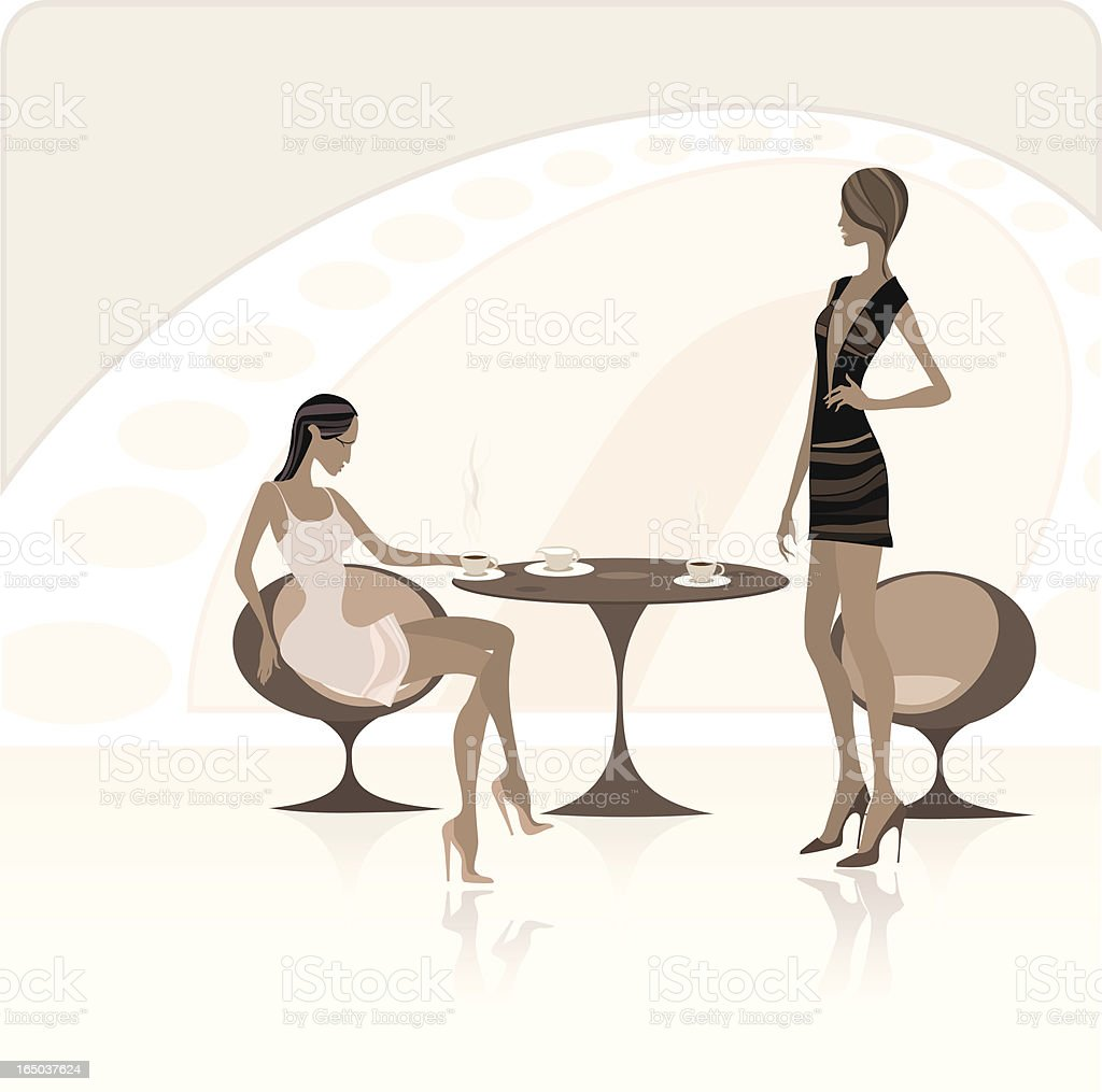 Ladies at the classy coffee shop vector art illustration
