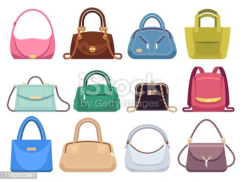 Ladies bags. Womens handbags with fashion accessories. Leather female clutch and purse vintage vector flat lady style modern case set