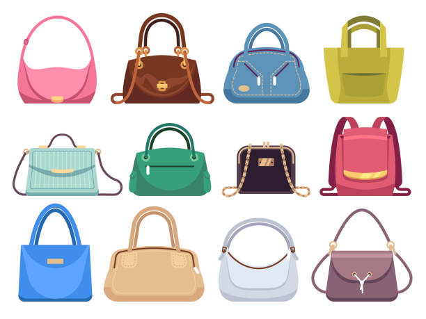 illustrazioni stock, clip art, cartoni animati e icone di tendenza di ladies bags. womens handbags with fashion accessories. leather female clutch and purse vintage vector flat set - borsetta