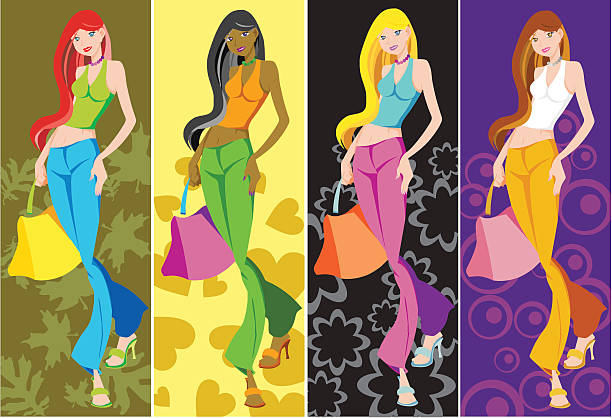 Ladies carrying bags vector art illustration