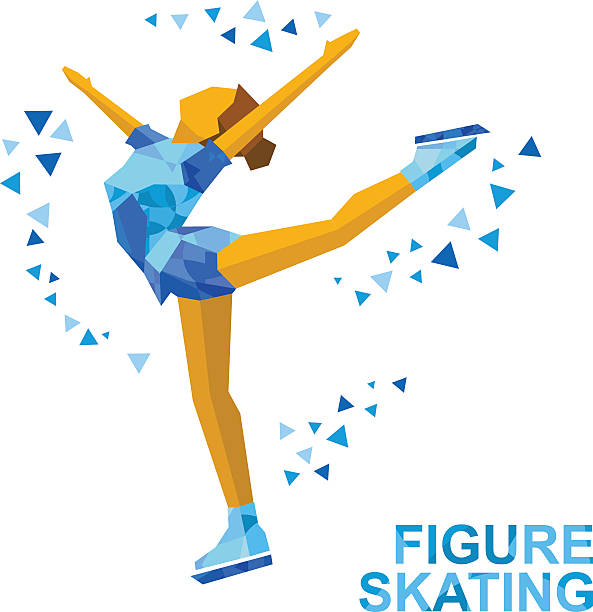 Ladies Figure Skating. Cartoon skating girl training. Ice show. Winter sports - Ladies Figure Skating. Cartoon skating girl training. Ice show. Flat style vector clip art isolated on white  background. figure skating stock illustrations