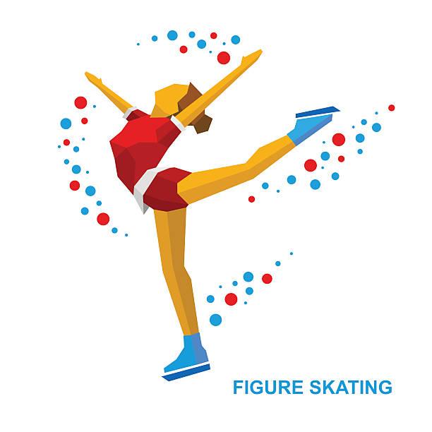 Ladies Figure Skating. Cartoon skating girl training. Ice show. Ladies Figure Skating. Cartoon skating girl training. Ice show. Flat style vector clip art isolated on white background. figure skating stock illustrations