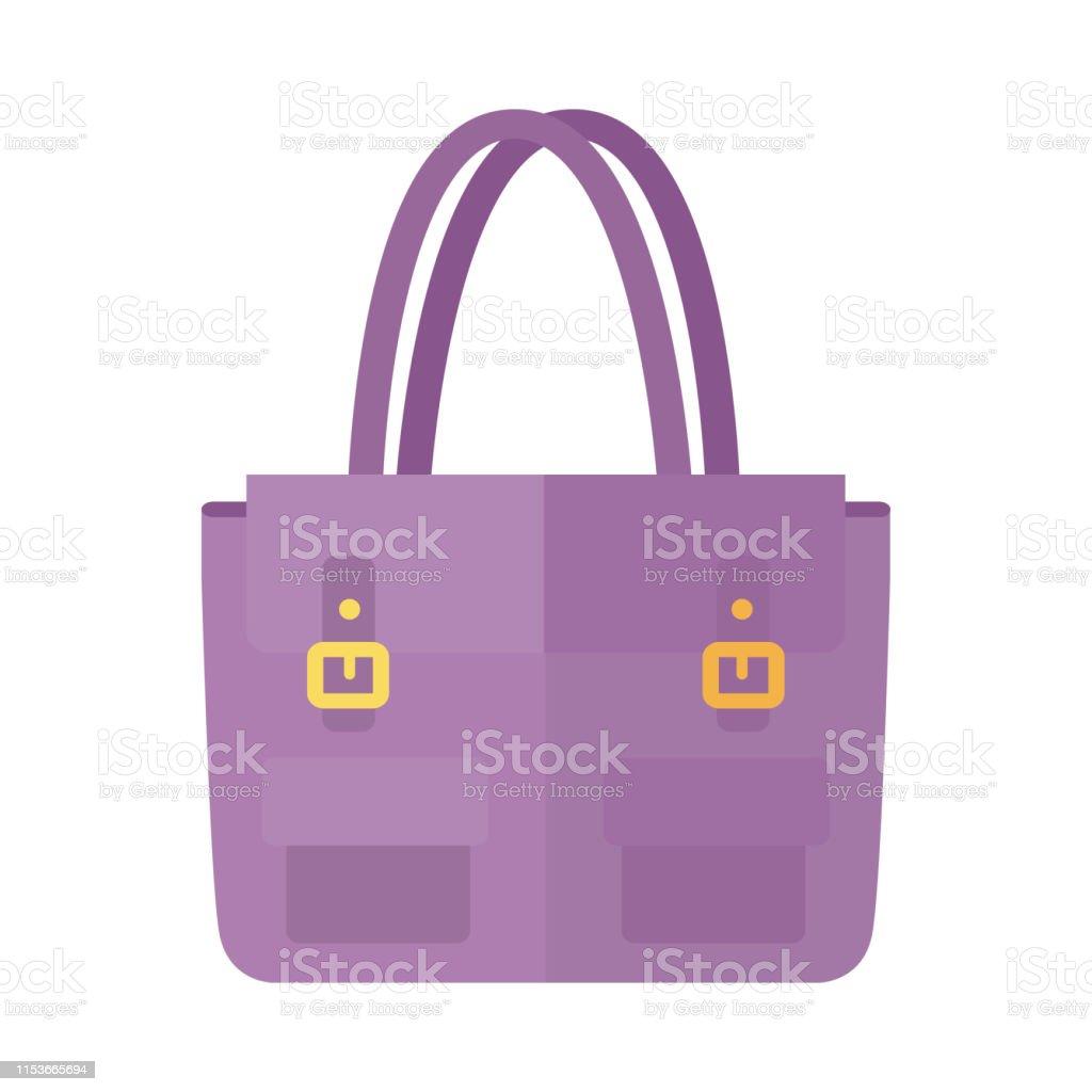 Dames handtas in platte stijl. Vrouwelijke zak geïsoleerd. - Royalty-free Achtergrond - Thema vectorkunst