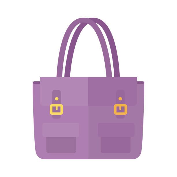 stockillustraties, clipart, cartoons en iconen met dames handtas in platte stijl. vrouwelijke zak geïsoleerd. - vrouw schoonmaken