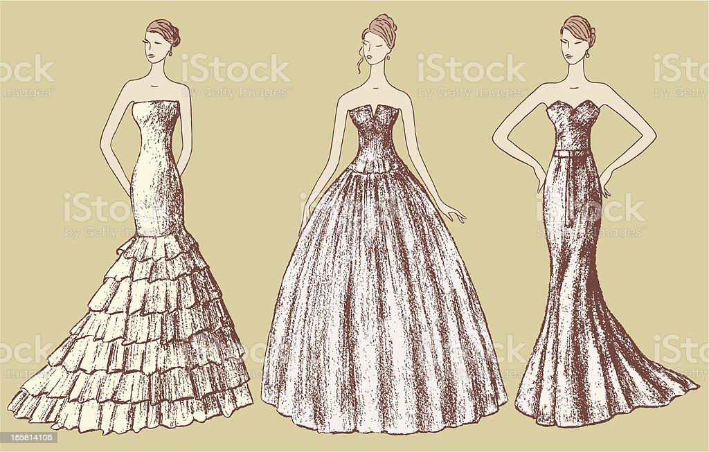 Ladies in evening dresses royalty-free stock vector art