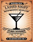 Ladies Night Invitation on Grunge Background Poster
