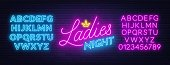 Ladies Night neon lettering on brick wall background. Light alphabet. Template for invitation, poster, etc. Vector illustration.