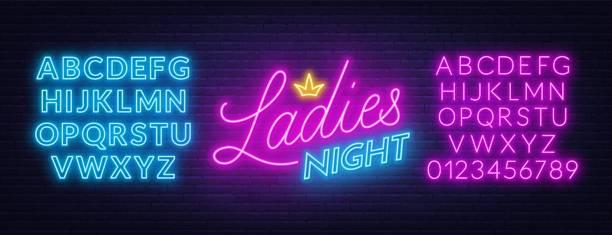 illustrazioni stock, clip art, cartoni animati e icone di tendenza di ladies night neon lettering on brick wall background. - xx° secolo