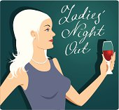 """Beautiful blond woman holding a glass of red wine, """"Ladies' Night Out"""" hand-written calligraphy on the background. No transparencies."""