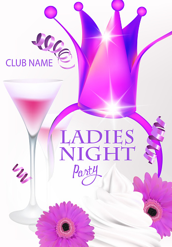 Ladies night party invitation card with princess crown, cream and cocktails. Vector illustration