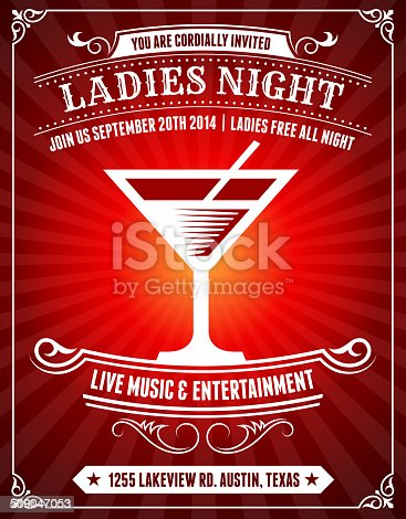 Ladies Night Poster on Red Background