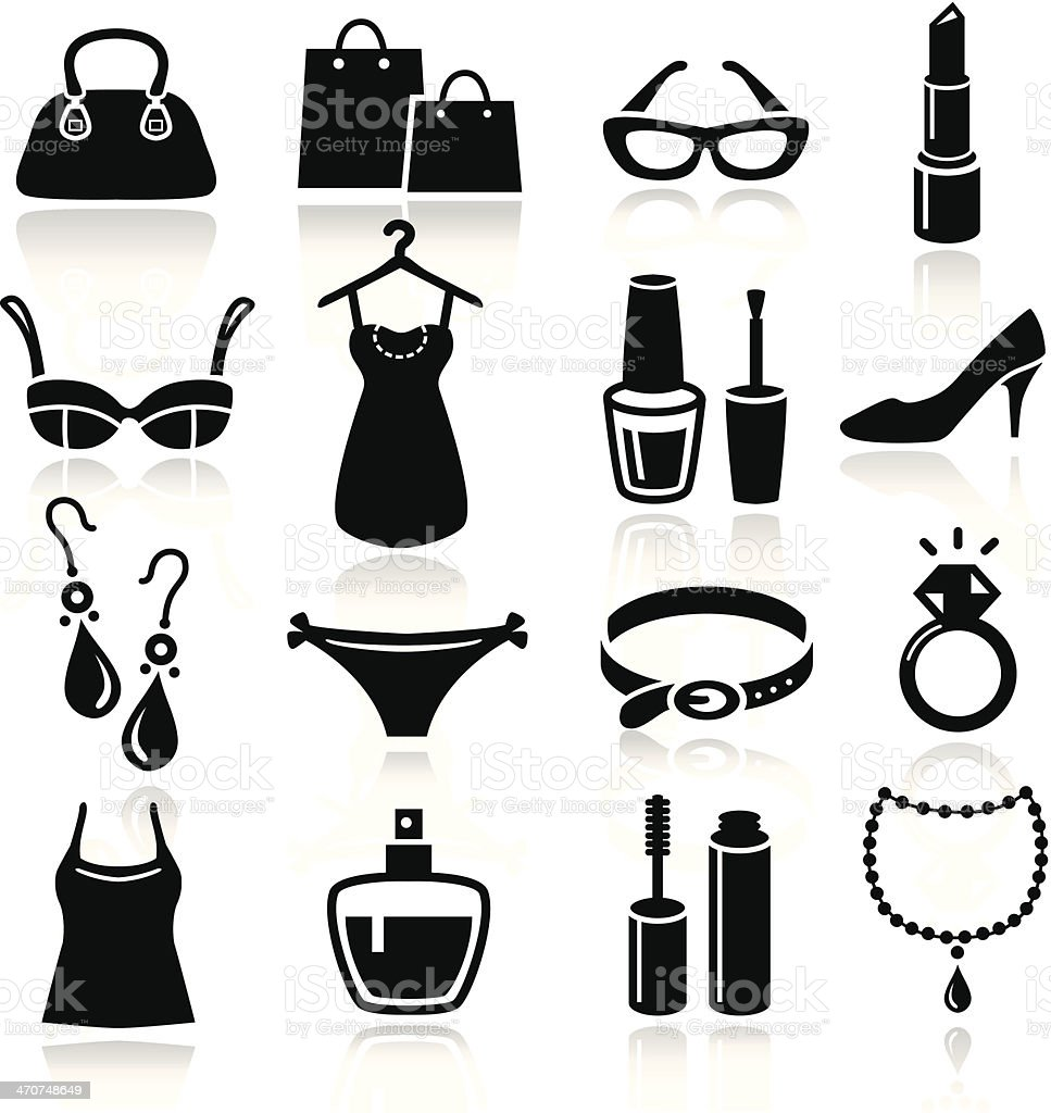 Ladies Shopping Icons vector art illustration
