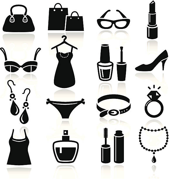 ladies shopping icons - makeup fashion stock illustrations