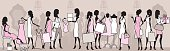 Women shopping in a department store. Every character is on a different layer for easy editing. Click below for a silhouetted version of this file
