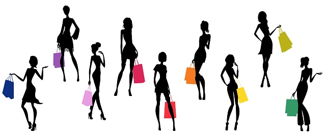 Ladies silhouettes and shopping bags.