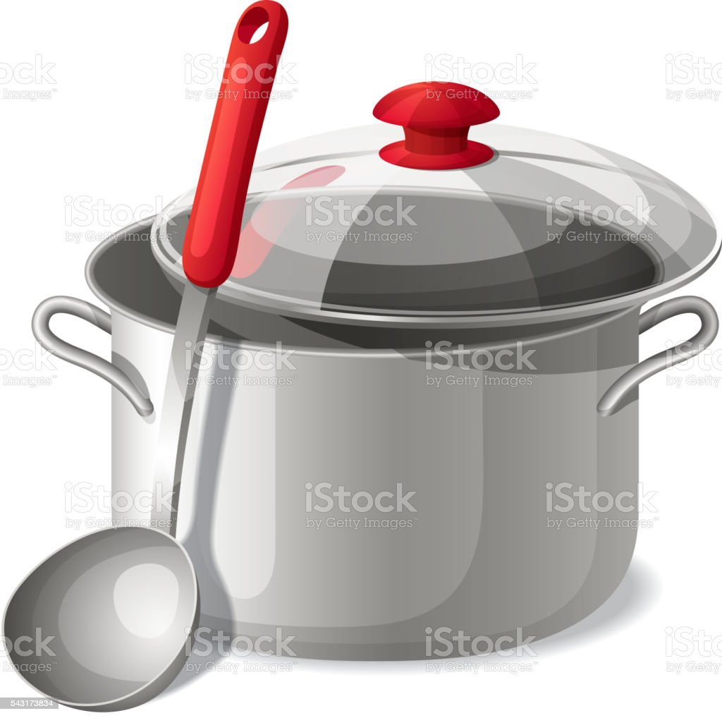 Ladle with a pan isolated on white. Vector illustration. vector art illustration