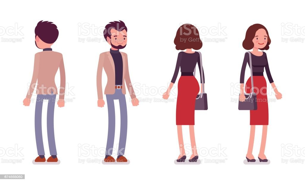 Lady and gentleman in standing pose, rear and front view vector art illustration
