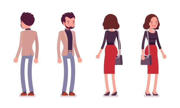 lady and gentleman in standing pose, rear and front view - preppy fashion stock illustrations, clip art, cartoons, & icons