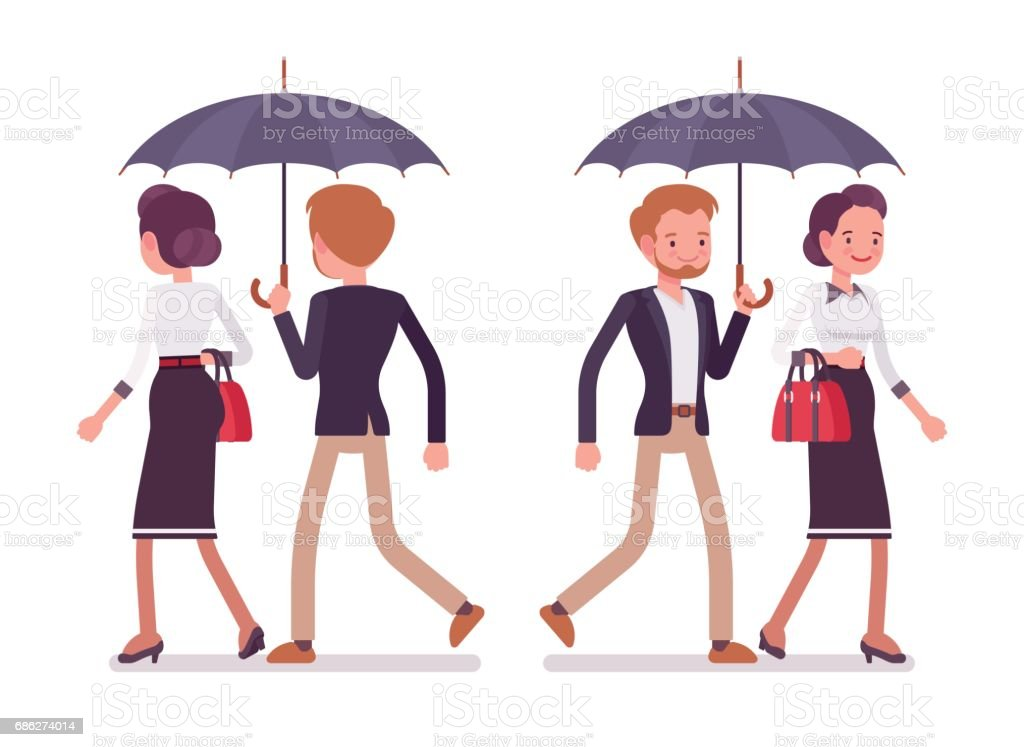 Lady and gentleman walking together under umbrella, rear, front view vector art illustration