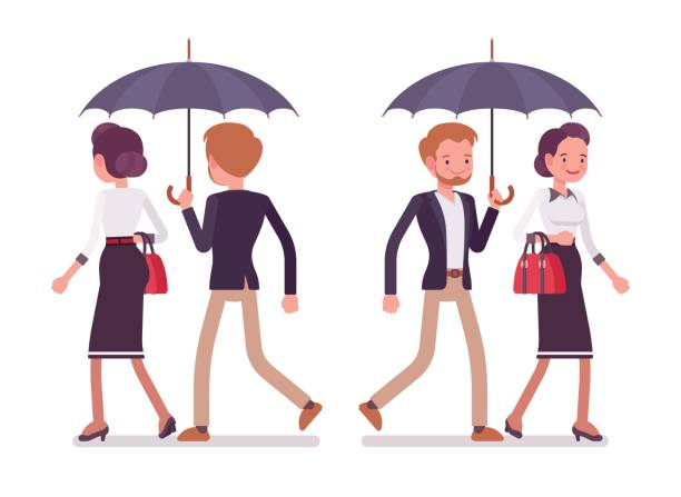 lady and gentleman walking together under umbrella, rear, front view - business casual fashion stock illustrations