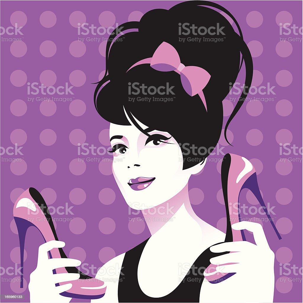 Kobieta i jej buty. - Grafika wektorowa royalty-free (Akcesorium osobiste)