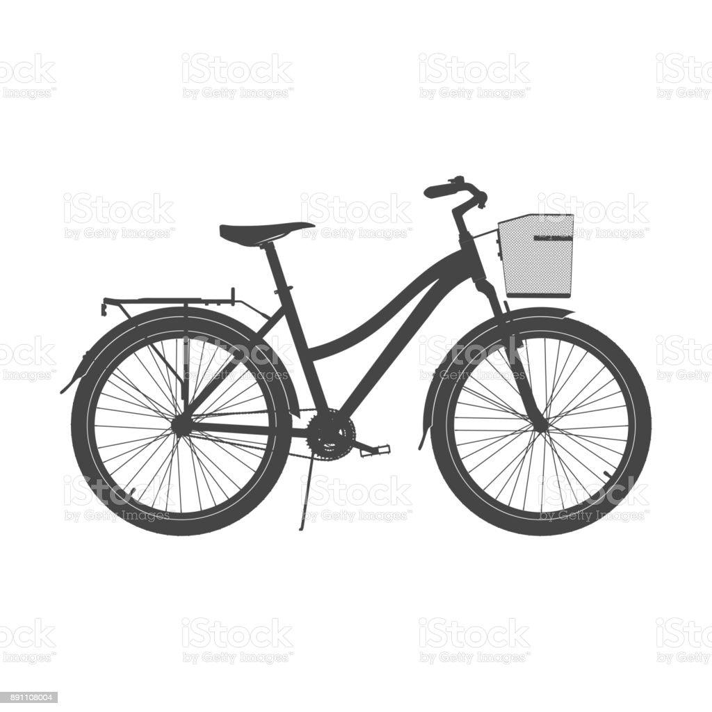 Lady City Bike Silhouette. Women's Comfort Bicycle Vector Illustration vector art illustration