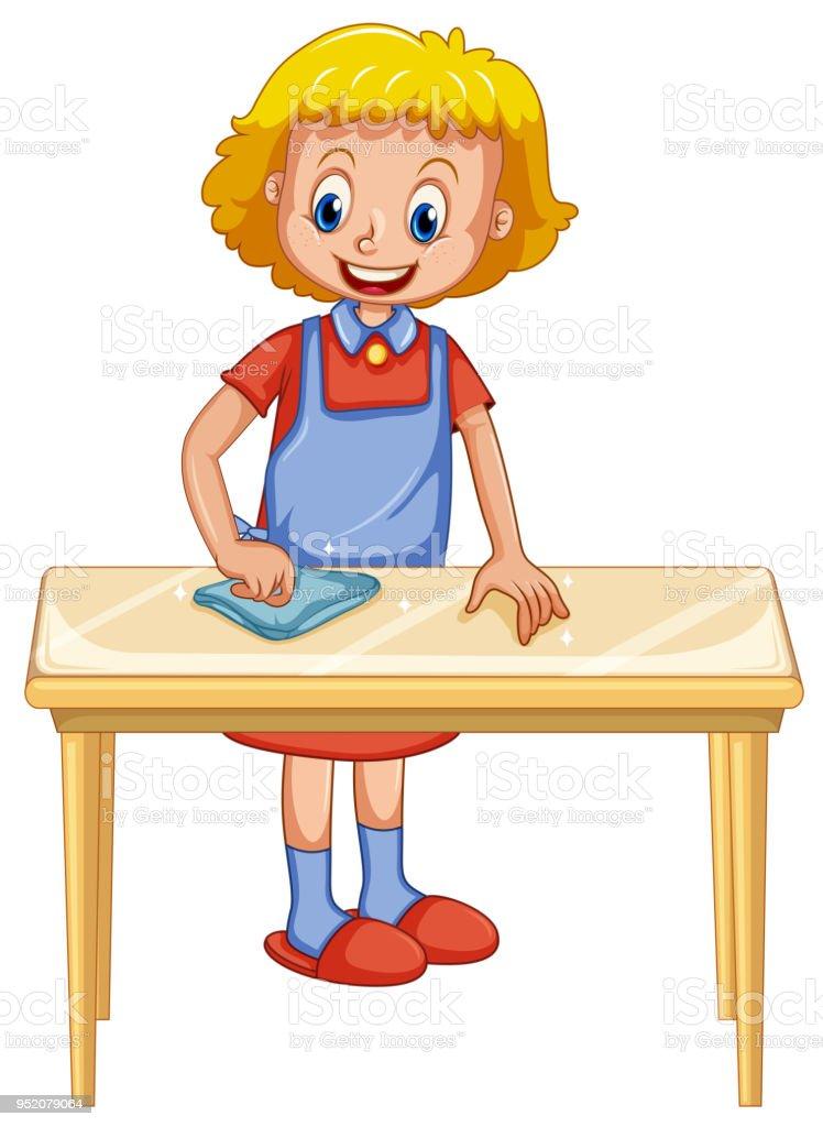 Berühmt Eine Dame Reinigung Tisch Auf Weißem Hintergrund Stock Vektor Art ID64