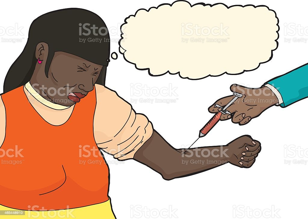Lady Cringing In Pain During Injection Stock Vector Art