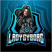 Illustration of Lady cyborg esport mascot logo design