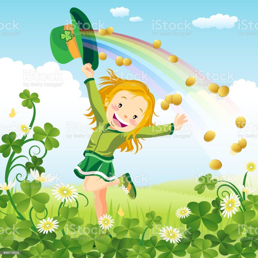 Lady dancing in clover glade vector art illustration