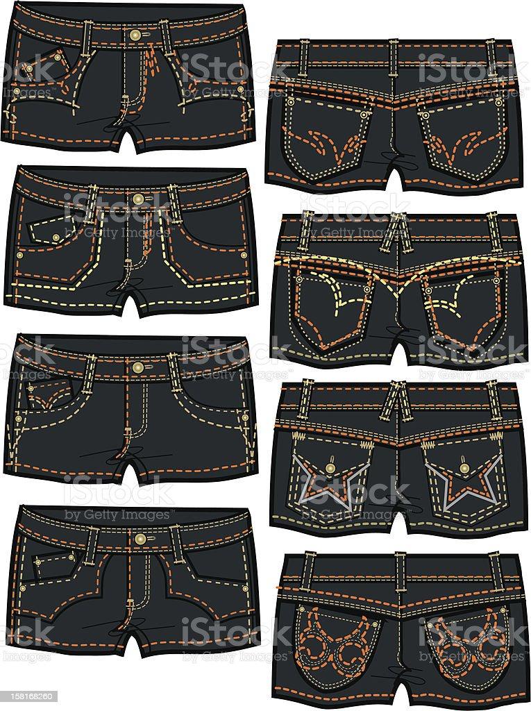 lady denim hot shorts royalty-free stock vector art